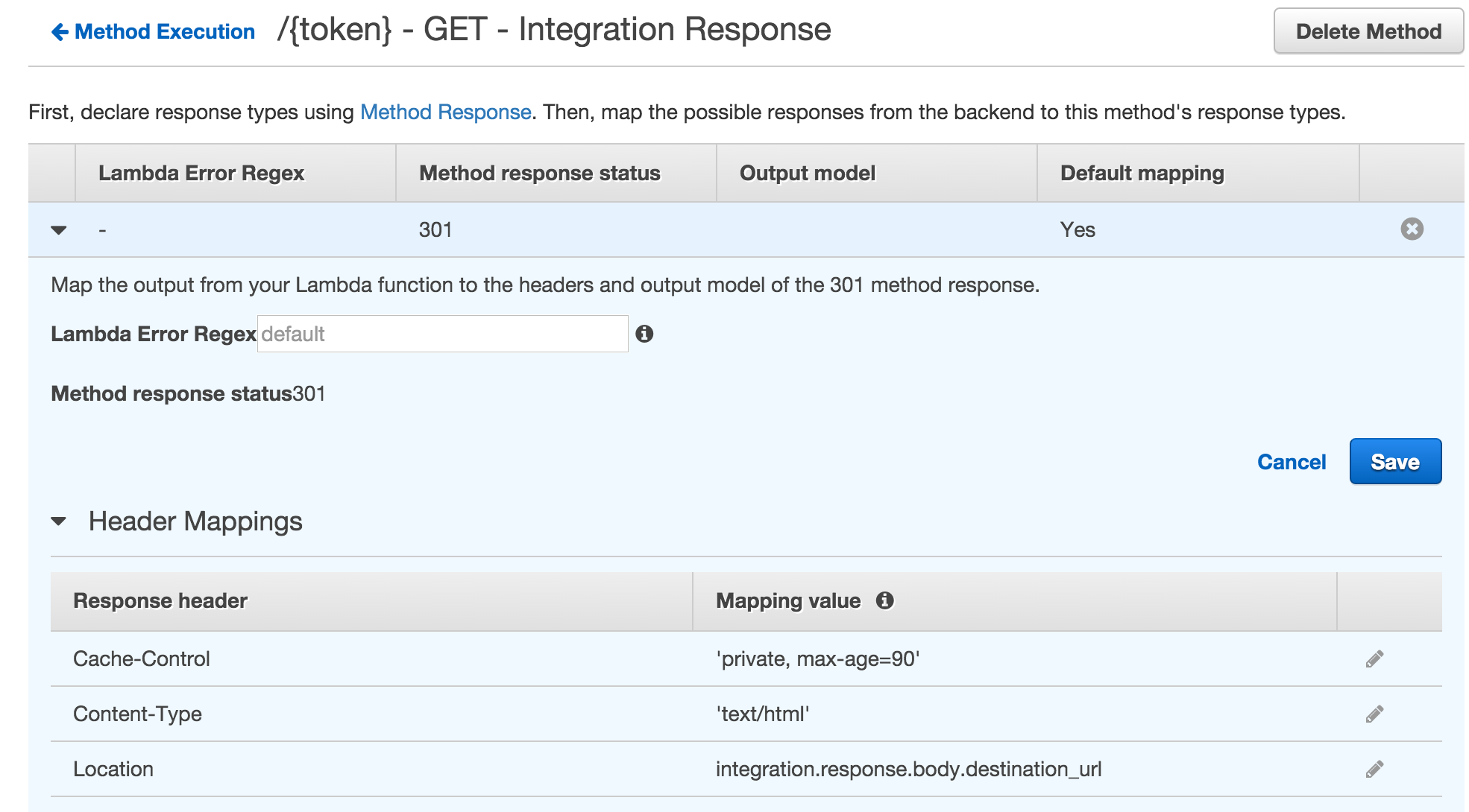 /{token} endpoint GET method Integration Response settings